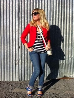 Navy and White Stripes with a Red blazer and Strappy Cobalt Sandals