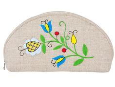 Duża półokrągła kosmetyczka - haft kaszubski