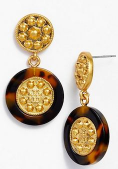 Timeless gold and tortoise shell drop earrings