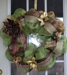 Merry Christmas Deco Mesh Wreath- Green/ Gold/ brown on Etsy, $55.00