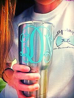 Tiffany blue monogrammed yeti cup with an adorable sweetly southern shirt from Under the Carolina Moon