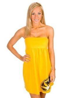 Missouri Tigers Women's Logo Sideline Cover Up Dress Gold Multiple Sizes #CollegiateSurfandSport #Sundress #SummerBeach