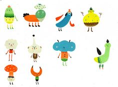 Character Design - 1 by ? Inca Pan, via character char Monster Illustration, Character Illustration, Graphic Illustration, Chicken Illustration, Kitty Crowther, Let's Make Art, Mascot Design, Texture Art, Graphic Design Typography