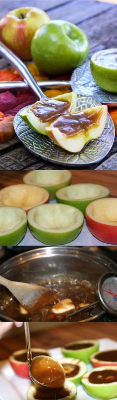 Inside Out Caramel Apple Slices Dessert Recipes - apple, caramel, dessert, fruit, recipes