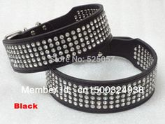 Wholesale-Rhinestone Dog Collar 5 Rows Crystal Diamond Jeweled Leather Medium Large Dog Collars Free Shipping 2inch Wide Black Pink Red