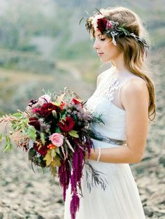 Gorgeous deep burgundy bouquet with amaranthus | Photography by Brumley and Wells