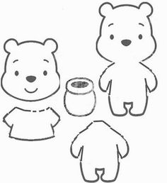 Pooh template Felt Patterns Free, Embroidery Patterns Free, Felt Templates, Drawing Templates, Sock Crafts, Felt Crafts, Winie The Pooh, Winnie The Pooh Plush, Small Sewing Projects