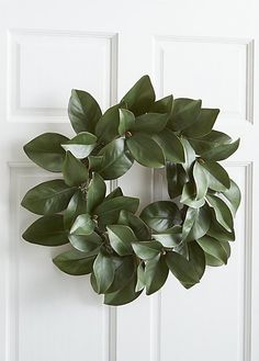 Our faux magnolia leaf wreath maintains its glossy, green color all year long. Each leaf displays naturalistic veining and shape, varying in size for added realism.