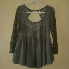 Free People Peplum Top Olive Free People peplum top with lace sleeves & am open back. Worn once, perfect condition. Free People Tops Blouses