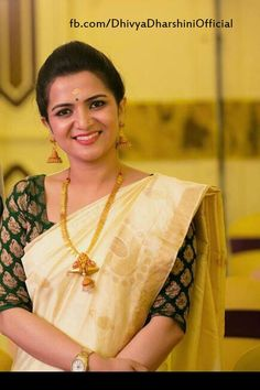 Divyadarshini wearing a Kerala Traditional Saree