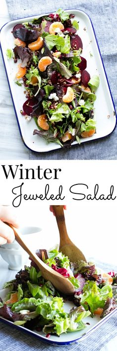 Citrus, pomegranate and roasted beets make up the jewels of this nourishing salad. It's finished with a citrus balsamic dressing. Vegan Option Vanilla And Bean Chicken Salad Recipes, Healthy Salad Recipes, Whole Food Recipes, Healthy Snacks, Vegetarian Recipes, Healthy Eating, Cooking Recipes, Vegan Vegetarian, Winter Salad Recipes