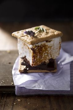 Recipe and Styling by Libbie Summers Photography by Chia Chong Homemade lavender marshmallows and dark chocolate melted between two crispy graham crackers. Nope, this 'aint your grandmother's campfire snack. Lavender Marshmallows Ingredients