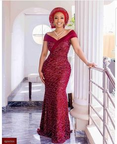 Top Aso-Ebi Styles for Saturdays weddings - Reny styles African Lace Styles, Latest African Fashion Dresses, African Dresses For Women, African Attire, African Print Fashion, Nigerian Lace Dress, Nigerian Dress Styles, Nigerian Bride, Aso Ebi Lace Styles