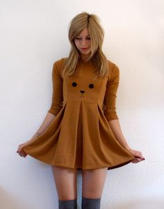 Cute Bear Skaterdress with long sleeves by ThePetiteChouette, $60.00