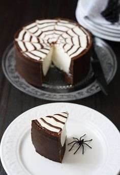 Looks delicious, but we hope the spider's a fake! Chocolate cheesecake for Halloween.