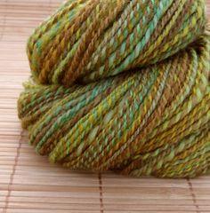 Wool Hand Spun Yarn Summer Trees 160 yards Y33 by YarnGeekFibers, $34.00