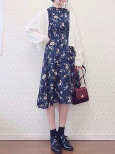 Korean Fashion Dress, Korean Street Fashion, Korean Outfits, Japanese Fashion, Asian Fashion, Modest Fashion, Fashion Dresses, Fashion Moda, Only Fashion