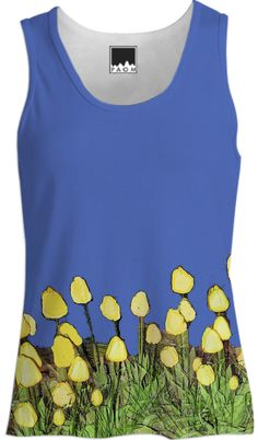 Yellow Tulips on Blue Tank Top from Print All Over Me