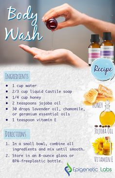 Wouldn't you love to make an all natural body wash that smells amazing?? Click through for a great recipe from Epigenetic Labs! Ingredients: water, liquid Castile soap, honey, jojoba oil, essential oils, & vitamin E. Please re-pin to share with your family & friends. Join us for much more great information on The Truth About Cancer! <3