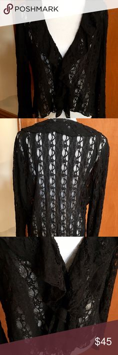 Gorgeous J. Jill Stretch Lace Jacket NWOT This is a J. Jill all over lace jacket with hook and eye closure on the front. Absolutely gorgeous. Never worn. Ladies size XL. Made of 98% nylon and 2% spandex. J. Jill Tops Blouses