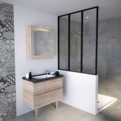 Bathroom cabinet small size practical small spaces canopy retro bathroom loft, oak green bathroom Source by pascaleherriau Bathroom Inspo, Bathroom Styling, Bathroom Inspiration, Bathroom Interior, Interior Inspiration, Bathroom Grey, Bad Inspiration, Chic Bathrooms, Bathroom Cabinets