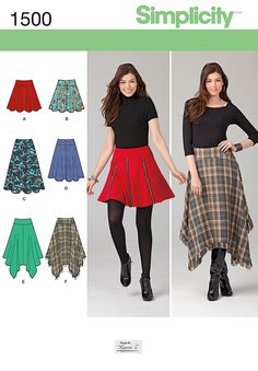 With Simplicity pattern 1500 you can sew a short skater skirt, a medium or longer length gore skirt, or a bohemian skirt with a shark bite hem. Get creative adding fringe, trim and buttons!