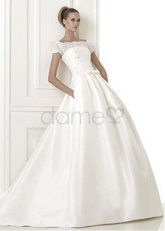 Perlen Spitze A-Linie Satin gekappte Ärmel bodenlanges aufgeblähtes Brautkleider