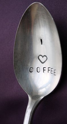 I Love Coffee, hand stamped spoon for a coffee lover. Custom Stamped Spoons by… Coffee Heart, Coffee Talk, Coffee Spoon, I Love Coffee, Coffee Break, Morning Coffee, Coffee Cups, Coffee Coffee, Espresso
