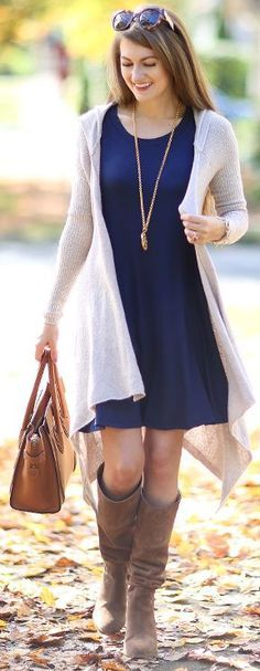 Gray Waterfall Hooded Cardi Navy Swing Dress Fall Street Style Inspo by Southern Curls and pearls