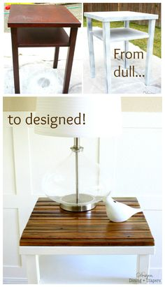 End table / side table makeover using naturally distressed wood. Love the wood top, painted legs. Diy House Projects, Diy Furniture Projects, Furniture Making, Furniture Makeover, Distressed Furniture, Repurposed Furniture, Distressed Wood, Side Table Makeover, Do It Yourself Furniture