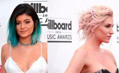La modelo Kylie Jenner lució un ombré de puntas azules y la cantante Kesha tonos rubios y rosa pálido. #Billboards2014 #digoModas