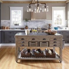 Rustic Kitchen Island With Stone Top On Wheels