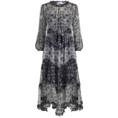 ZIMMERMANN Divinity Ruffle Resort Dress ($950) ❤ liked on Polyvore featuring dresses, swim dress, tie neck tie, blue jersey, blue floral dress and floral dresses