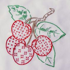 vintage cherries embroidery