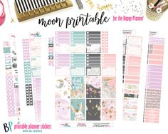 Shoot for the Moon Weekly Printable Kit // Happy Planner // Printable Planner Stickers // Cut Line Files // Planner Stickers by BEaYOUtifulPlanning on Etsy