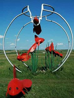 "Porter Sculpture Park, Montrose, SD    ""  Located 25 minutes west of Sioux Falls in the town of Montrose, Porter Sculpture Park features over 40 larger-than-life, recycled metal structures — from swimming goldfish to the hovering vultures perched at the 10-acre park's entrance. """