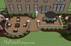 I think we could alter this to accommodate our future swim spa. With tumbled block seating walls framing an outdoor dining and fire pit areas, this Beautiful Backyard Patio Design with Seat Walls is fun and functional to use.