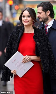 Sweden's Prince Carl Philip with wife Princess Sofia who looked ravishing in crimson as they joined The Swedish Royal Family for today's seminar which was held in the Swedish capital Princess Sofia Of Sweden, Royal Princess, Prince And Princess, Swedish Royalty, Prince Carl Philip, Queen Silvia, Royal Dresses, My Fair Lady, Victoria
