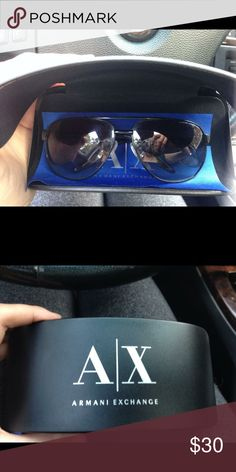 Armani exchange black aviator sunglasses These are black very nice with a very nice case...the lens do have a cpl scratches on then only visible if u look at them like super close but not obvious at all... These are gender neutral A/X Armani Exchange Accessories Sunglasses