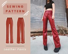 Leather Pants Digital PDF Sewing Pattern // US Size 00-14 // | Etsy Pdf Sewing Patterns, Free Sewing, Dress Patterns, Fabric Patterns, Sewing Clothes Women, Diy Clothes, Thrift Clothes, Mini Skater Skirt, Pants Pattern