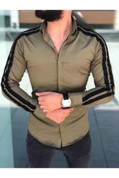 men casual business Men-Casual-Stylish-Slim-Fit-Long-Sleeve-Casual-Business-Formal-Dress-Shirts-Tops >> Check this amazing product by going to the link at the picture. (This is an affiliate ) Formal Men Outfit, Formal Dresses For Men, Formal Shirts For Men, Dress Casual, Mens Dress Outfits, Casual Outfits, Korean Fashion Dress, Indian Men Fashion, Korean Fashion Casual