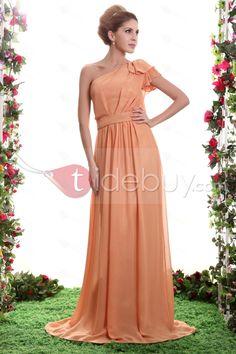 Gentle Ruched A-Line One-Shoulder Floor-Length Sasha's Bridesmaid Dress