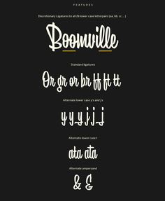 Boomville is bouncy and upright script font. It is fun and lively with a lot of personality. This script is sketched with quite quick brush strokes with a pointed brush to achieve this casual and playful feeling.