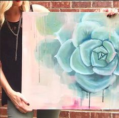 whimsical abstract succulent painting acrylic on canvas blue, peach, green, mid century modern farmh Succulents Drawing, Diy Painting, Painting Abstract, Cactus Painting, Painting Inspiration, Fine Art Paper, Art Projects, Art Drawings, Canvas Art