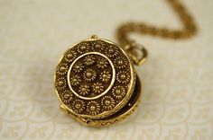 Raised Flowers Locket Pendant on Long Gold Chain, Large Vintage Necklace, Floral Round Pendant, Double Sided Jewelry, Upcycled Jewellery