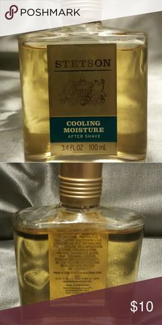 Stetson Cooling Moisture After Shave 3.4 oz After Shave lotion helps reduce skin irritation after shaving. Instantly tones, refreshes rhe face and neck. Stetson after shave, 3.4 oz features a twist off top for fast and easy use. Never been opened. All there. Stetson After Shave  Other