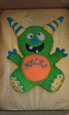 Monster Baby shower cake lol I won't do this but this is adorable