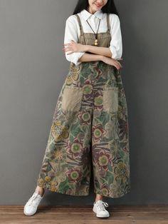 Women's Jeans Wide Leg Denim Overalls for Women Plus Size Print Vintage Loose Elegant Rompers Womens Jumpsuit Combinaison Femme Plus Size Jumpsuit, Wide Leg Denim, Wide Leg Pants, Loose Pants, Rompers Women, Jumpsuits For Women, Winter Jumpsuits, Vintage Overall, Hijab Fashion