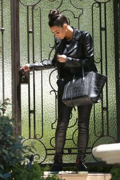 kim kardashian. leather. chic