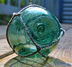 Glass Fishing Float Vintage Collectible, Deep Water Teal, Nautical, Home Decor, Ocean, Beach Decor, Cottage, Japanese, Fishing, Garden Decor. $27.00, via Etsy.